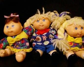 "Vintage 1995 CPK 4"" Minature Dolls!!! Super Cute HTF Items!!Lot of 3 Dolls!!"