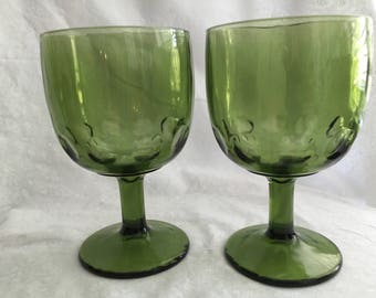 Green Thumbprint Goblets (set of 2)
