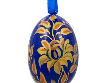 """3"""" Golden Flowers on Blue Wooden Egg Easter Ornament"""