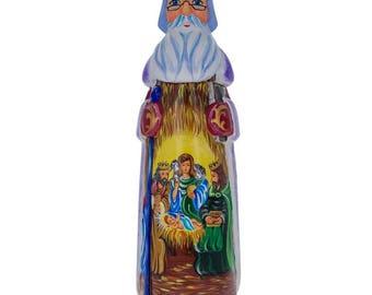 "11"" St. Nicholas over Nativity Scene Ukrainian Hand Carved Solid Wood Figurine"