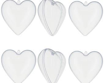 "3"" Set of 6 DIY Clear Plastic Heart Ornaments"