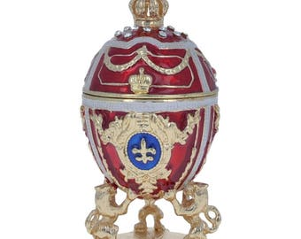 "2.75"" Lions Holding Royal Crown Faberge Inspired Easter Egg"