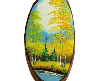 """15"""" Russian Forest Autumn Woodcut Painting Wall Art Plaque"""