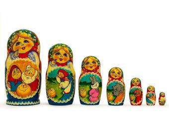 """8.5"""" Set of 7 Kolobok Russian Fairy Tale Wooden Nesting Dolls"""