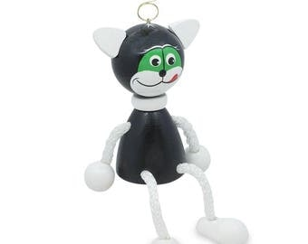 """4"""" Jumping Black Cat Wooden Doll on a Spring"""