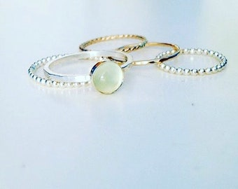 Prehnite Stacking Ring set