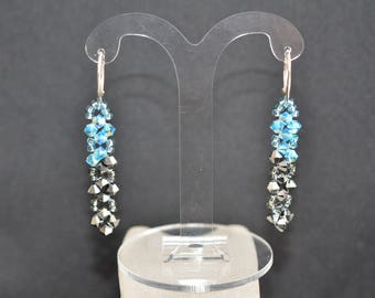 Swarovski crystal earrings and 925 silver aquamarine ab and light chrome 2x