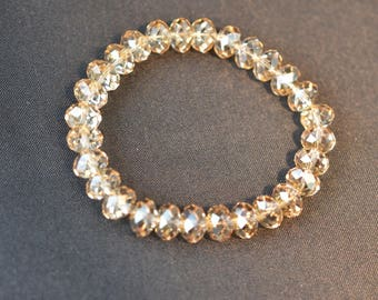 Swarovski crystal bracelet round flattened crystal golden shadow