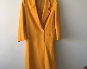 Long Bright Yellow Cinched in Coat