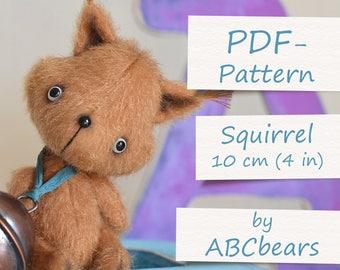 """Miniature Teddy Squirrel Pattern. Teddy Pattern. Teddy bear squirrel. Soft toy pattern. Teddy tutorial. Teddy bear tutorial (4""""/10cm)"""