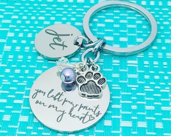 Pet Memorial Keychain, Personalized Pet Name, Dog Memorial, Pet Remembrance, Angel Wings, One Of A Kind Gift, Rainbow Bridge, Pet Loss Gift