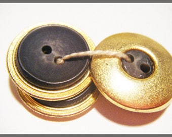4 buttons vintage gold & grey dark - sewing or scrapbooking