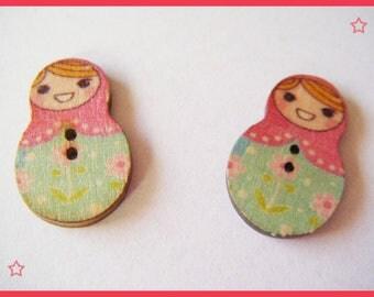 Original buttons - Russian doll matryoshka wooden kawaii scrapbooking
