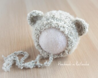 Loopy Hat with Ears, Newborn Bear Hat, Bear Bonnet Photo Prop