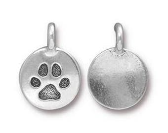 Dog Paw Print Charm TierraCast Round Metal Pewter Puppy Animal Jewelry Drop Pendant 4 pieces Made in America