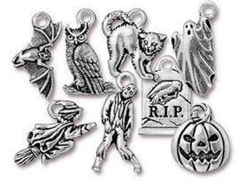 Halloween Jewelry Charms Metal Zombie Ghost Cat Pumpkin Gravestone Bat Witch Owl Tierracast Pewter Small Pendant 8 piece set Made in USA