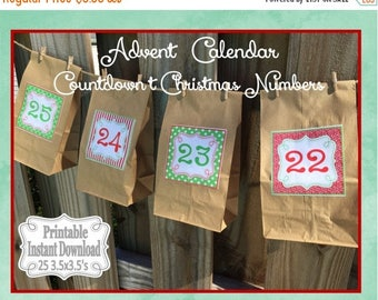 SALE Printable Advent Calendar Numbers Countdown to Christmas Stickers or Tags Red Green ~ DIY Instant Download ~ 25 3.5 x 3.5 Squares