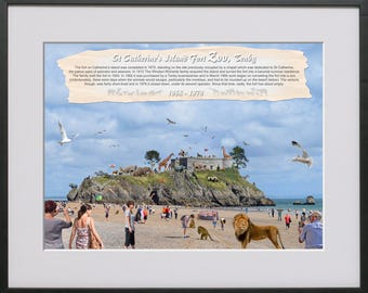 Digital art image of St Catherine's Fort Zoo in Tenby, Pembrokeshire.