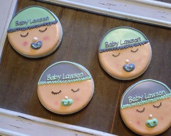 Baby Face Baby Shower Cookies