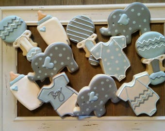 Little Boy or Little Girl Baby Shower Cookies with Elephants! For One Dozen