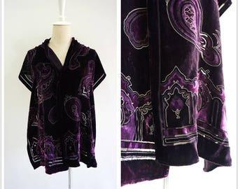 NINA RICCI Paris paisley gilding Silk Velvet scarf in purple.Vintage women's scarf burnout velvet 90s floral wrap.LaZLeP P75C29