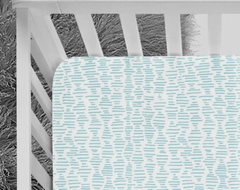 Baby Blue crib Sheet, mini stripes, blue bedding, minimalist, black and blue nursery, geometric pattern, baby bedding, fitted crib sheet