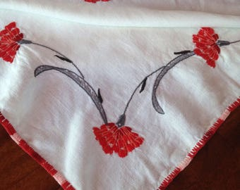 "Vintage Bright Red ""Hand-Stitched""  Freesia Floral Pattern Tablecloth"