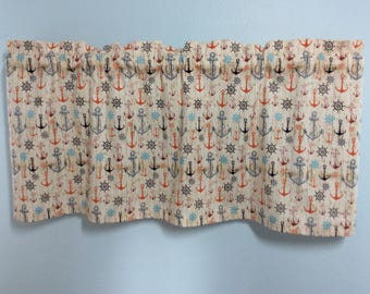 Anchor Valance-Anchor Curtains-Nautical Valance-Beach Valance-Lake Valance-Tropical Valance-Coastal Valance-Kitchen Valance