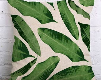 Green Tropical Leaf Nature Print 18x18 Cushion Cover