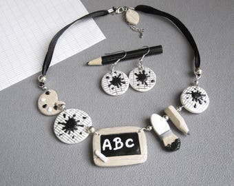 School teacher gift necklace, black and white school fimo necklace, teacher gift idea, mistress jewel, necklace and earrings school