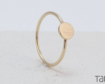 Yellow Gold Disc, Dainty Jewelry, 14k Solid Gold, Everyday Gold Ring, Special Gift, Rock Style Ring, Gift For Her, Gold Dot Ring