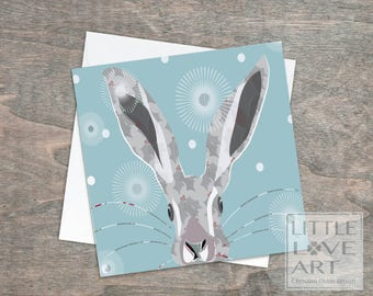 Holly Hare greeting card - Holly -dandelion puffs -Bunny card with holly pattern -Bright bunny card, Rabbits, Hares
