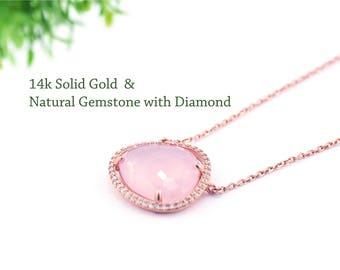 14k  Rose Gold & Natural gemstone 3.66CTTW Rose Quartz with pave setting Diamond Necklace. SI1 diamond. Gems Necklace (GP10614)
