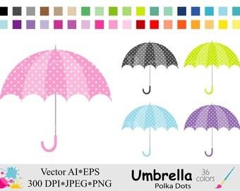 Umbrella Clip Art, Polka Dots Umbrella Clipart, Rainbow Umbrellas Clipart, Planner Stickers Instant Digital Download Vector Clip Art