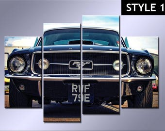 Classic Ford Mustang 4 Panel Canvas