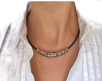 20% OFF SUMMER SALE Cork choker, dark blue and antique gold choker, cork necklace, cork jewelry, vegan choker, vegan necklace, vegan jewelry