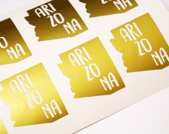 35 Arizona Stickers, Gold Invitation Seals, State Save The Date, Made In Arizona, AZ state Decal, Favor Bag Seals, Destination Wedding