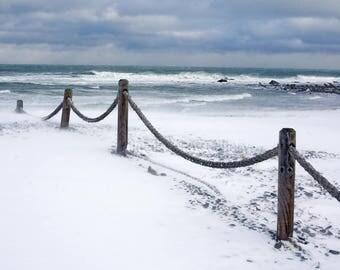 Winter beach scene, Egypt Beach, Scituate, MA, South Shore, ocean, sea, nautical decor, cottage decor, archival, signed print