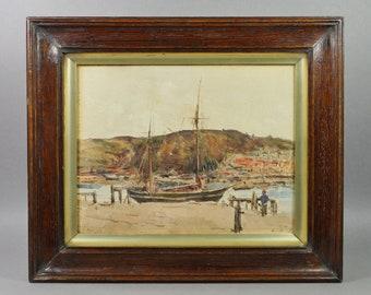 Antique English Watercolor Coastal Landscape Dated 1913 Teignmouth, Devon