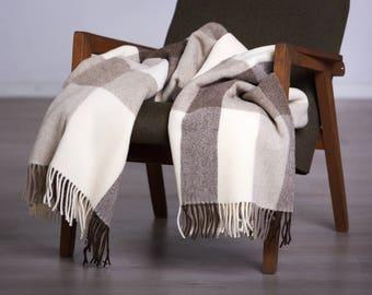 Not coloured wool throw  - Throws - Warm Wool Throw - Wool Gift, Blanket Wool, Gift Wool,