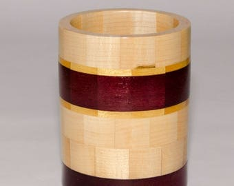 Segmented Pencil Holder-Maple Purpleheart Yellowheart-Home and Office-Desk Pen and Pencil Holder