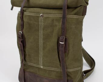 Vintage Style Leather Canvas Backpack - Olive