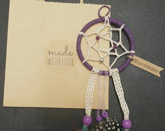 Small purple dreamcatcher with lace ribbons