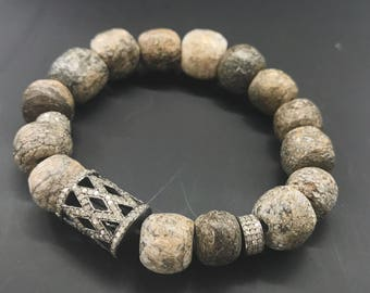 Stegodon fossil beads diamond beaded bracelet, boho chic, fall bracelet, netutal grey, beaded diamond bracelet,chic jewelry