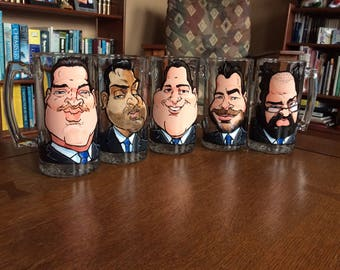 Set of 5 Caricature Groomsmen Gifts- (OR Visit www.Adamizeit.com for budget friendly options)