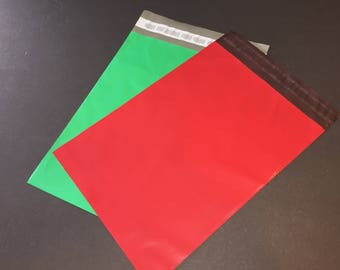 100 9x12 RED and GREEN Poly Mailers 50 Each  Self Sealing Envelopes Shipping Bags Christmas