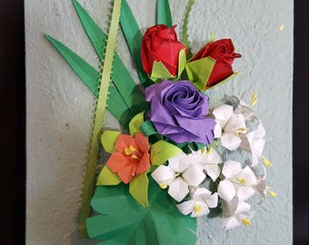 Japanese Origami Flowers Bouquet, wall hanging