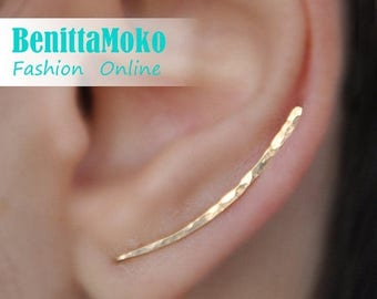 ON SALE Ear Climbers Earrings x2, Ear Climber, Gold Ear Pins, Climber Earrings 30mm, Ear Crawlers, Earrings Pin, Gold Earrings, Earring Pins