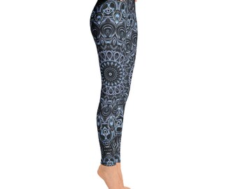 Dark Blue Printed Leggings - Hooping Leggings, Yoga Pants, Festival Clothing