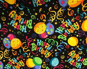 Happy Birthday festive fabric, novelty fabric, birthday fabric, celebration fabric, cotton